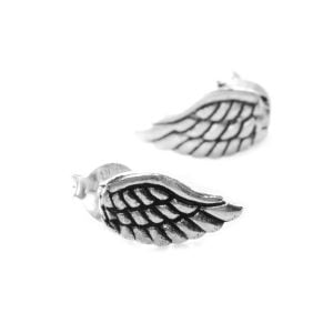 Small Angel Wing Design Sterling Silver Stud Earrings