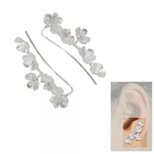 Sterling Silver Jewellery: Pretty Ear Crawlers with Matt Silver Floral Bouquet Design