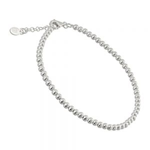 Classic Sterling Silver Jewellery: Simple Thin Beaded Silver Bracelet