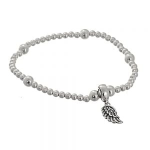 Beautiful Sterling Silver Jewellery: Beaded Stretch Bracelet with Oxidised Angel Wing Charm