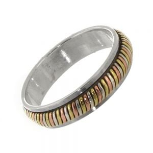 Sterling Silver Ring: Simple Spinning 'Meditation' Ring with Silver, Brass and Copper Tones
