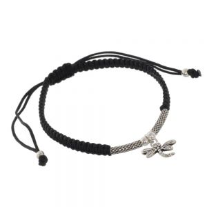 NEW Sterling Silver Jewellery: Silver Beaded Black Cord Drawstring Bracelet with Dragonfly Design