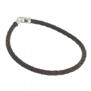 NEW Sterling Silver Jewellery: Dark Brown Leather Bracelet