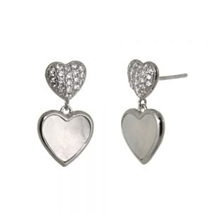 Beautiful Sterling Silver Jewellery: Double Heart Earrings with Mother of Pearl and Crystal Elements