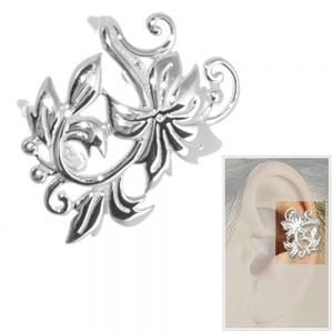 NEW Statement Sterling Silver Jewellery: Elaborate Floral Ear Cuffs (14mm x 19mm) (E280)
