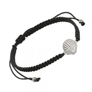 Sterling Silver Jewellery: Adjustable Black Cord Drawstring Bracelet with Silver Seashell