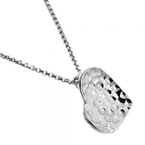 Beautiful Sterling Silver Jewellery: Hammered Concave Lopsided Heart Pendant