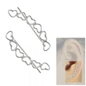 Sterling Silver Jewellery: Ear Pins / Crawlers with Alternating Heart Outline Design