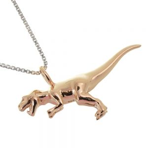 Amazing Sterling Silver Jewellery: Rose Gold Plated T-Rex Pendant