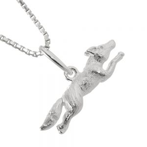 Whimsical Sterling Silver Jewellery: Textured Leaping Fox Pendant (20mm x 10mm x 4mm) (N304)