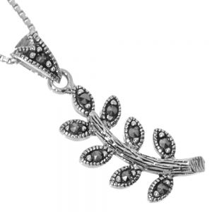 NEW Sterling Silver Jewellery: Marcasite Embellished Leafy Branch Pendant (11mm x 31mm incl Bale) (N106)