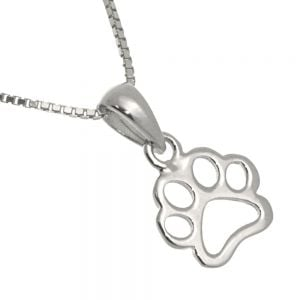 Cute Sterling Silver Jewellery: Small Pawprint Outline Pendant