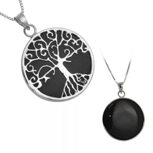 Beautiful Sterling Silver Jewellery: Black Onyx and Silver Tree of Life Layered Pendant