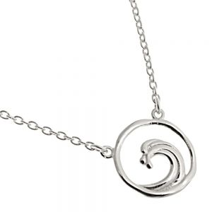 NEW Sterling Silver Jewellery: Delicate Chain Necklace with Wave Design Circle Pendant