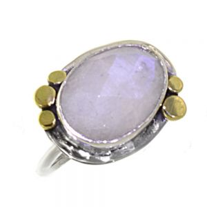 Gorgeous Sterling Silver Jewellery: Faceted Moonstone Oval Ring with Brass Dot