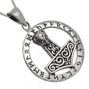 VIKING Sterling Silver Jewellery: Runic Pendant with Thor's Hammer Mjölnir