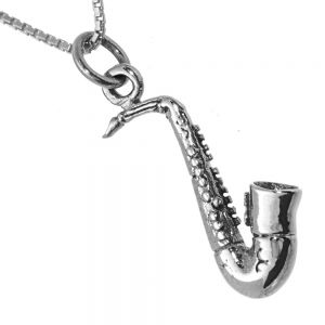 NEW Music Sterling Silver Collection: Stunning Saxophone Pendant (10mm x 23mm incl Bale) (N27)