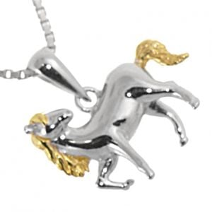Quirky Sterling Silver Jewellery: 15mm Prancing Horse Pendant with Golden Mane and Tail (N110)