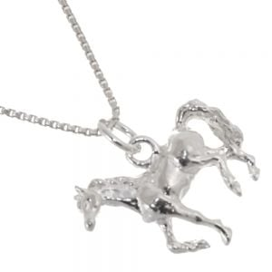 Quirky Sterling Silver Jewellery: 19mm Trotting Horse Pendant with Textured Mane and Tail