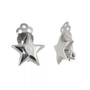 Classic Sterling Silver Jewellery: Simple 15mm Star Clip-On Earrings