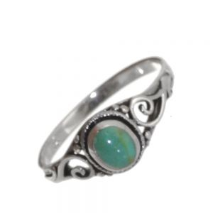 Sterling Silver Jewellery: Vintage Inspired Intricate Swirl Design Ring with Turquoise