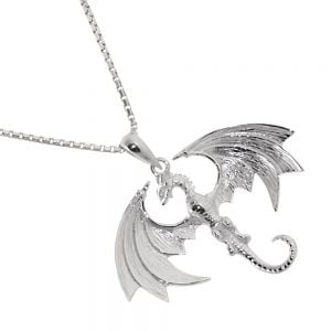 Sterling Silver Jewellery: Strikingly Detailed Flying Wyvern Pendant (30mm x 25mm) (N395) game of thrones