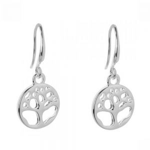 Simple Fashion Jewellery: Silver ToneTree of Life Earrings (2.5cm Drops) (DX14)A)