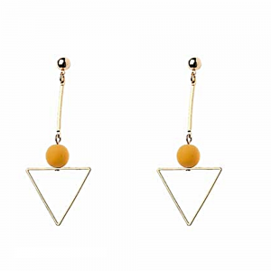 Quirky Fashion Jewellery: Gold Triangle Earrings with Brown Neoprene Coated Bead Detail