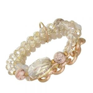 SEMI-PRECIOUS Fashion Jewellery: Fabulous Gold Tone Stretch Bracelet Set with Opalescent and Clear Crystals and Cream Beads with Craquelure Finish (EV21)A)