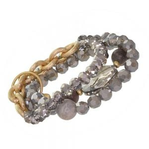 SEMI-PRECIOUS Fashion Jewellery: Fabulous Gold Tone Stretch Bracelet Set with Iridescent Grey Crystals (EV21)B)