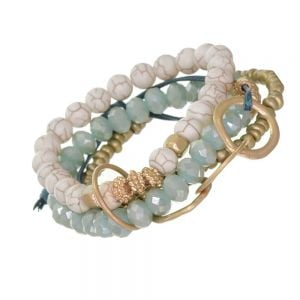 SEMI-PRECIOUS Fashion Jewellery: Blue Tone Stretch Bracelet Set with Gold, Pale Blue Crystal and Cream Beads with Craquelure Finish (EV20)A)