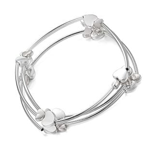 Fabulous Fashion Jewellery: Triple Bracelet Set with Long Tube Beads and Silver Lovehearts
