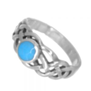 Sterling Silver Jewellery: Celtic Ring with Sky Blue Turquoise Stone (SR167)