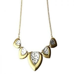 SALE Fashion Jewellery: Silver and Gold Tone Heart Necklace (s59) (s059)
