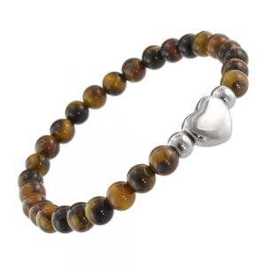 Stainless Steel Jewellery: Tigers Eye Bead Bracelet with Silver Tone Beads and Heart Design