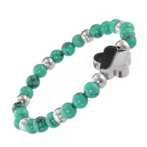 Stainless Steel Jewellery: Semi-Precious Green Turquoise Bead Bracelet with Silver Flower Design