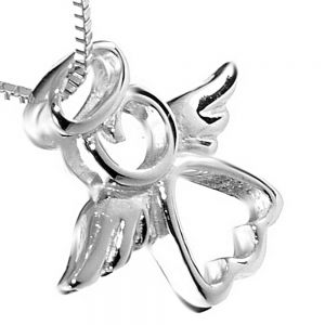 Sterling Silver Jewellery: Angel With Halo Outline Pendant