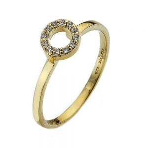 Sterling Silver jewellery: Gold Plated Ring with Crystal Circle Design