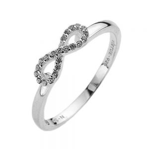 Sterling Silver jewellery: Simple Delicate Ring with Crystal Infinity Symbol