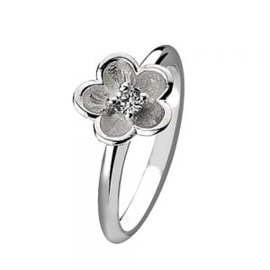 Sterling Silver Stacking Ring With Crystal Detail Flower