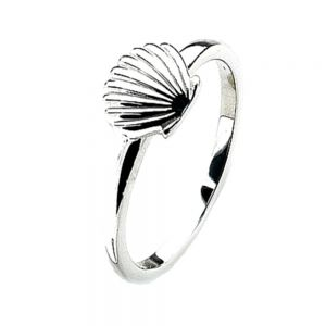 Cute Seashell Design Sterling Silver Stacking Ring