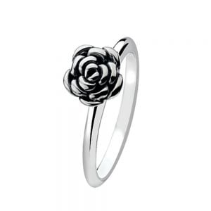 Oxidised Sterling Silver Stacking Ring With Rose
