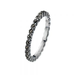 Floral Marcasite And Sterling Silver Stacking Ring