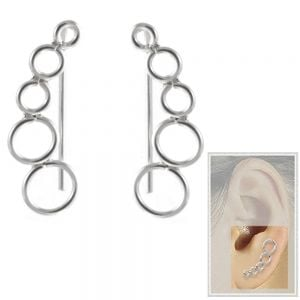Sterling Silver Jewellery: Delicate Long Hooked Circle Motif Earrings
