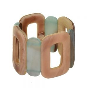 Boho Fashion Jewellery: 5cm Tall Oblong Motif Stretch Bracelet in Green-Brown Earth and Tusk Tones (EV3)B)