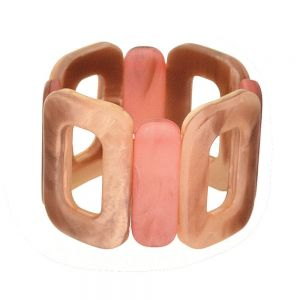 Boho Fashion Jewellery: 5cm Tall Oblong Motif Stretch Bracelet in Dark Red and Tusk Hues (EV3)C)