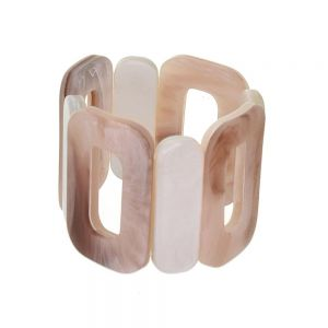 Boho Fashion Jewellery: 5cm Tall Oblong Motif Stretch Bracelet in Mother of Pearl and Tusk Hues (EV3)A)