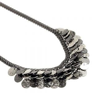 Layered Coin Design Hematite Style Necklace