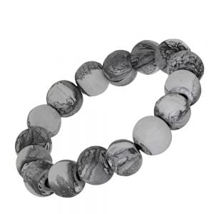 Fashion Jewellery: Stretch Wooden Bead Bracelet with Swirly Grey and White Finish (SB40)