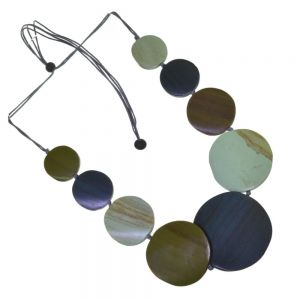 Fashion Jewellery: Adjustable Grey Cord Mid-Length Necklace with Wooden Olive Green, Mint Green, and Dark Grey Discs (SB38)